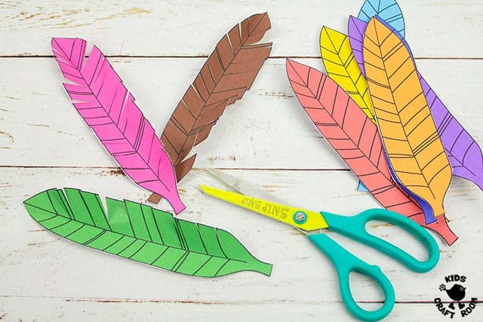 Paper Feathered Turkey Craft and Scissor Practice Activity step 4