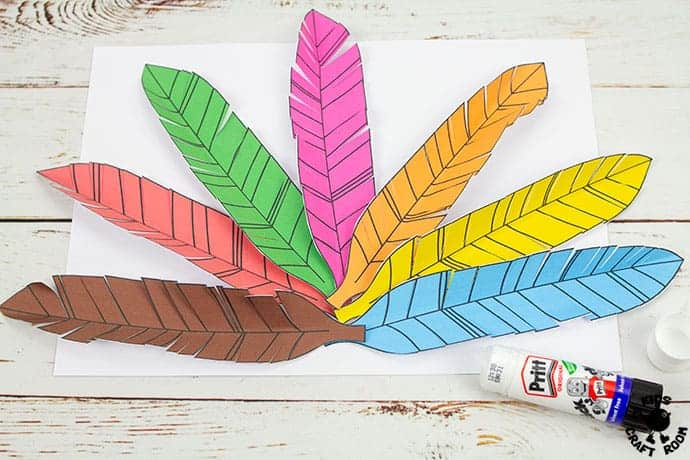 Paper Feathered Turkey Craft and Scissor Practice Activity step 5