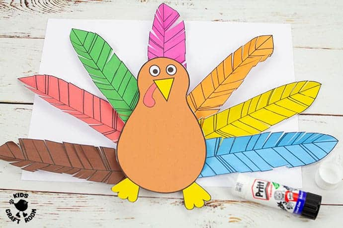 Paper Feathered Turkey Craft and Scissor Practice Activity pin 4