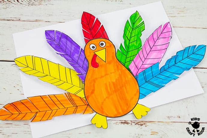 Paper Feathered Turkey Craft and Scissor Practice Activity pin 5