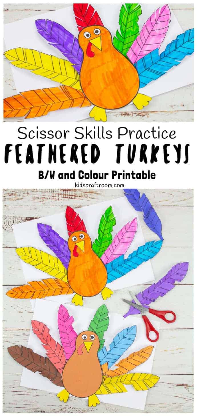 Paper Feathered Turkey Craft and Scissor Practice Activity pin 1