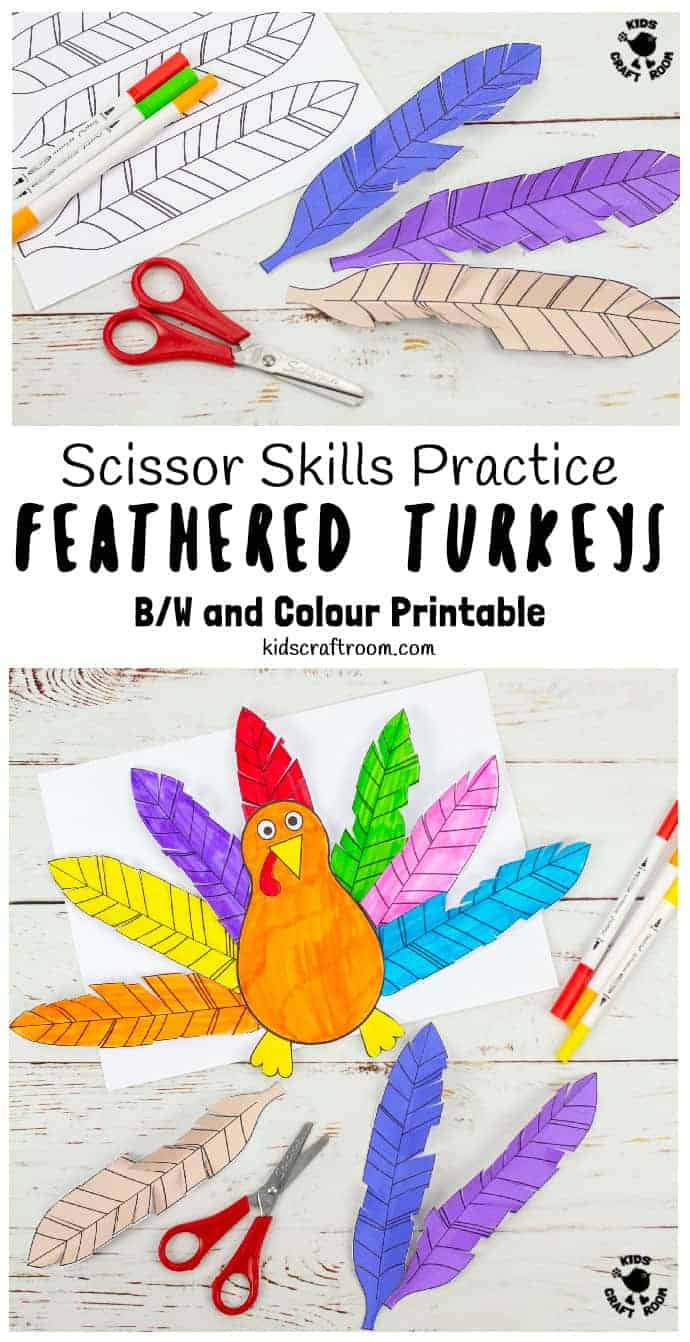 Paper Feathered Turkey Craft and Scissor Practice Activity pin 6