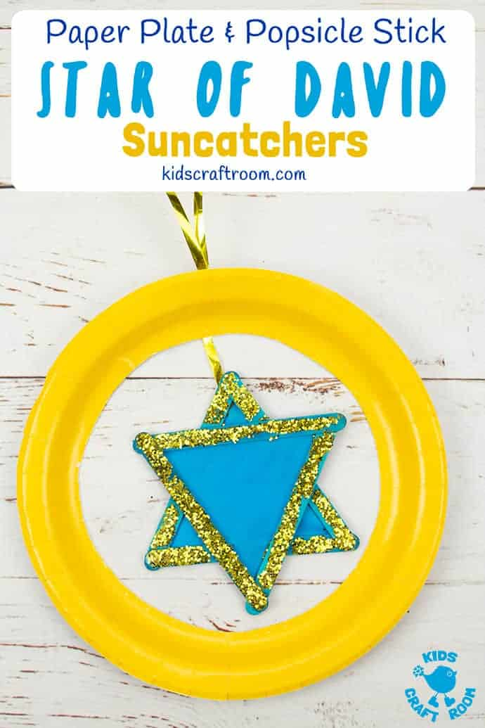 Make a pretty Star of David Suncatcher craft. Made from popsicle sticks and a paper plate this is an easy Hanukkah craft for kids. Hang your Star of David crafts up in the window to see the light shine through, they look really lovely. A no fuss Judaism craft for kids of all ages. #kidscraftroom #starofdavid #hanukkah #hanukkahcrafts #starofdavidcrafts #judaismcrafts #kidscrafts #suncatchers #paperplatecrafts #popsiclestickcrafts