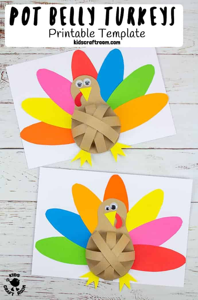 Pot Belly Paper Turkey Craft pin 4