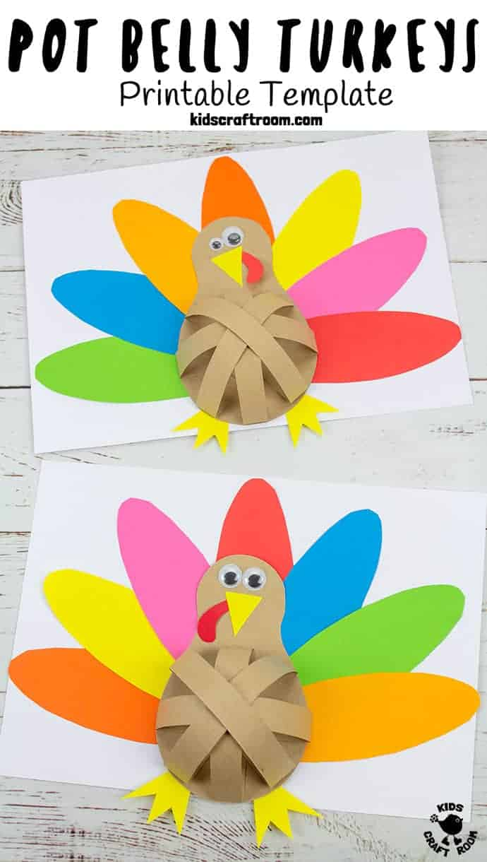 How fun is this Pot Belly Paper Turkey craft! Such a cute and simple Thanksgiving craft for kids. (Printable turkey craft template.) #kidscraftroom #papercrafts #turkeycrafts #thanksgiving #thanksgivingcrafts #kidscrafts #turkeys #printables