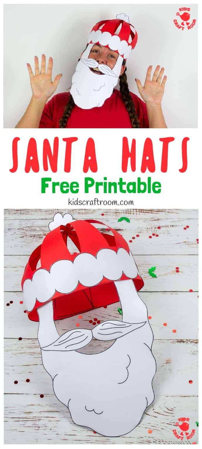 Get festive with this fun Christmas craft! Make and wear a cute 3D Paper Santa Hat! This Christmas hat idea is great for fun loving kids and grown-ups! (Free Printable Santa Hat Craft Template) #kidscraftroom #kidscrafts #santa #santahat #papercrafts #christmascrafts #printablecrafts #santacrafts #freeprintables #christmashats