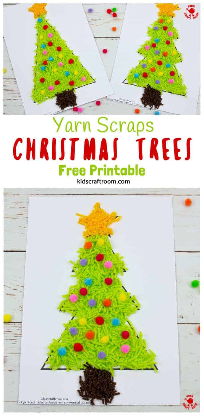 Scrap Yarn Christmas Tree Craft pin 1
