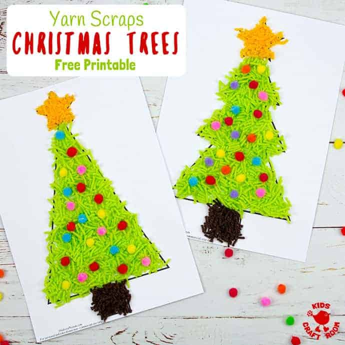 Scrap Yarn Christmas Tree Craft pin 2