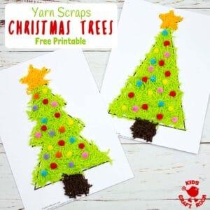 Scrap Yarn Christmas Tree Craft