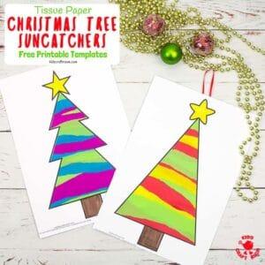 Tissue Paper Christmas Tree Suncatcher Craft