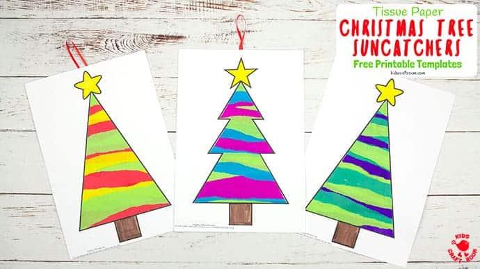 Tissue Paper Christmas Tree Suncatcher Craft Kids Craft Room