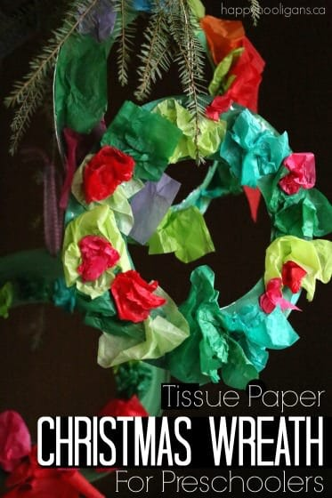Tissue Paper Christmas Wreath for Kids