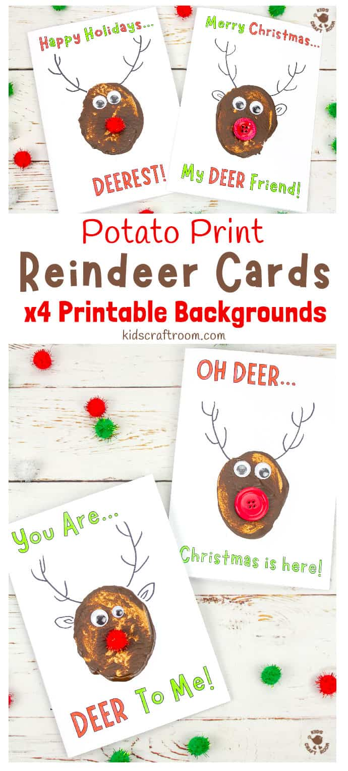 Funny Pun Reindeer Christmas Cards (Potato Printing Activity) pin 2