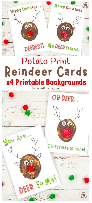 Funny Pun Reindeer Christmas Cards (Potato Printing Activity) pin 2