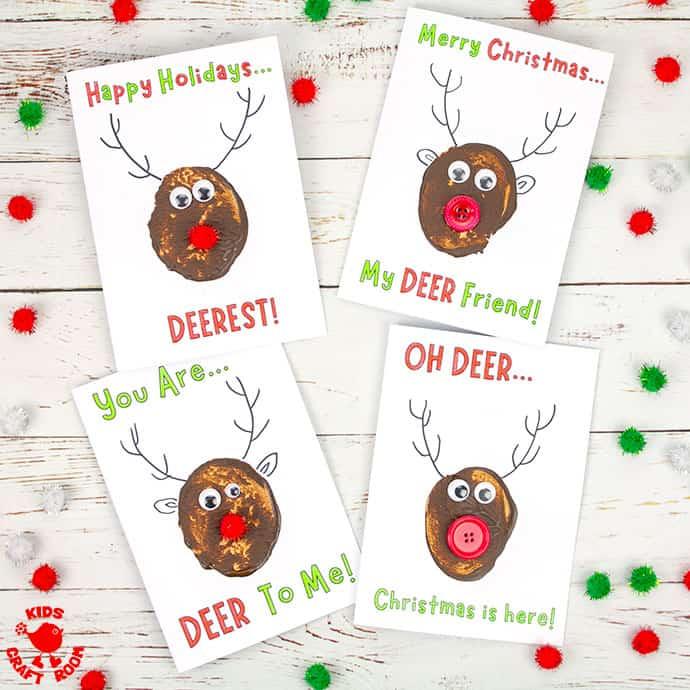 Funny Pun Reindeer Christmas Cards (Potato Printing Activity) pin 1