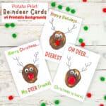 Funny Pun Reindeer Christmas Cards (Potato Printing Activity)