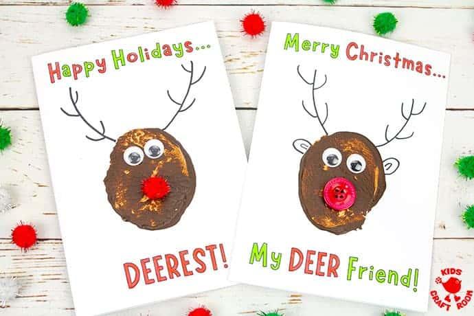 Potato Print Reindeer Christmas Cards pin 4