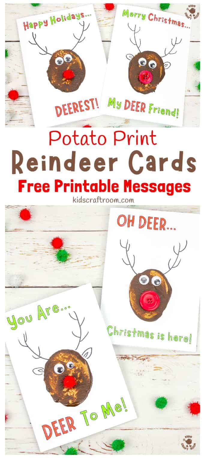 Potato Print Reindeer Christmas Cards pin 2