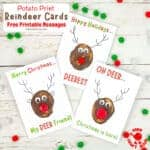 Potato Print Reindeer Christmas Cards With Printable Messages