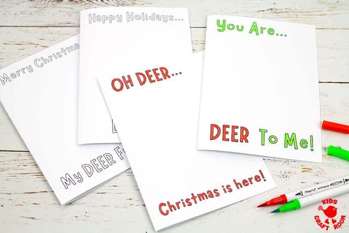 Potato Print Reindeer Christmas Cards step 2