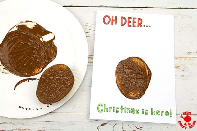 Potato Print Reindeer Christmas Cards step 4