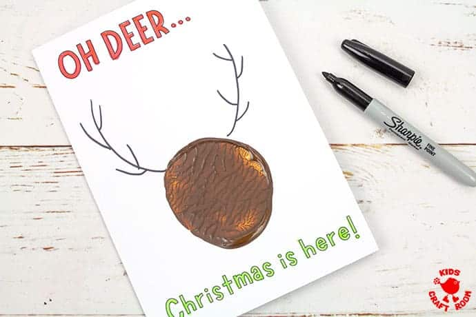 Potato Print Reindeer Christmas Cards step 5