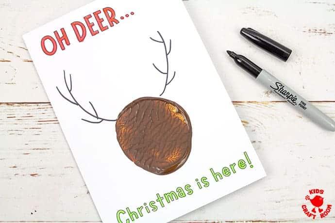 Potato Print Reindeer Christmas Cards step 5