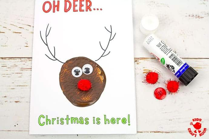 Potato Print Reindeer Christmas Cards step 6