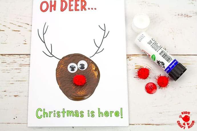 Potato Print Reindeer Christmas Cards step 6