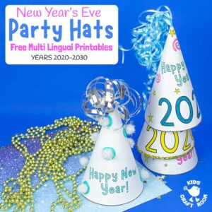 Printable New Year's Eve Party Hat Craft (Multilingual)