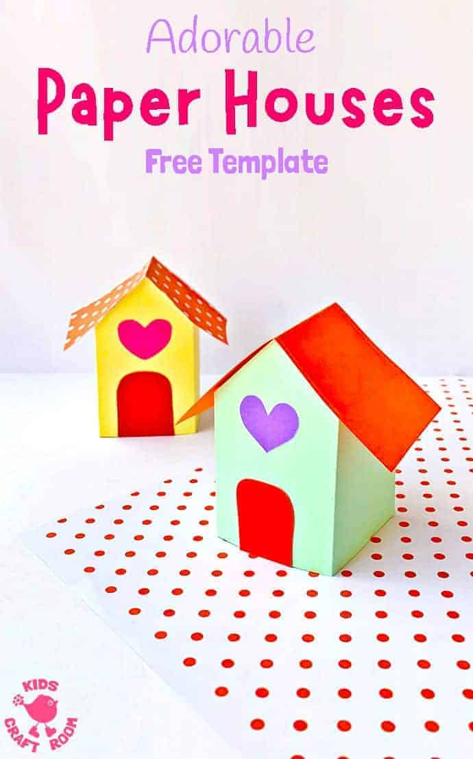 This adorable 3D PAPER HOUSE CRAFT is super cute as a Valentine's Day craft, fairy house craft or simply for fun at any time of the year! These paper houses are really easy to make with the free printable template. #kidscraftroom #papercrafts #paperhouse #printablecrafts #kidscrafts #fairyhouse #fairygarden #fairycrafts #origami