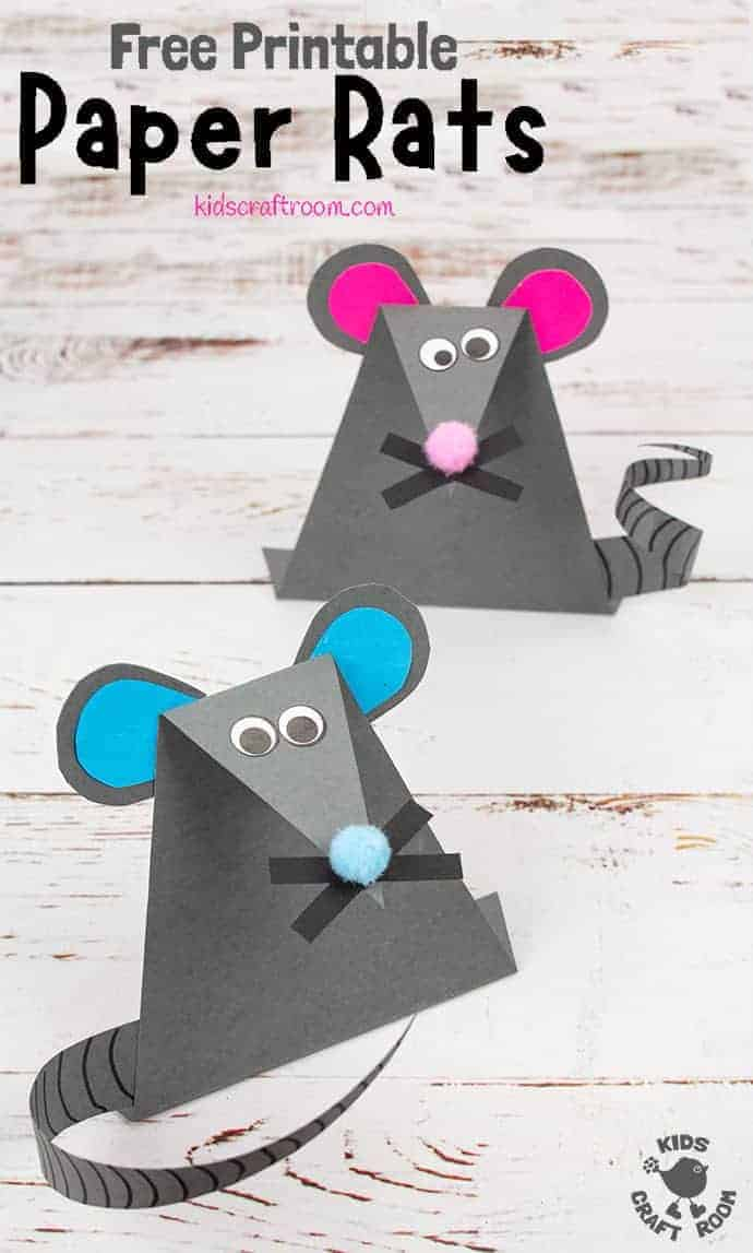 This EASY PAPER MOUSE CRAFT (or Paper Rat Craft) is super simple with a FREE PRINTABLE TEMPLATE. These fun paper mice (paper rats) stand upright and have cute whiskers and long tails that can be curled. It's a great mouse/rat craft to go with nursery rhymes like Hickory Dickory Dock. It's also a fab rat craft to use for Chinese New Year and the Year Of The Rat! #kidscraftroom #mousecrafts #ratcrafts #kidscrafts #papercrafts #printablecrafts #chinesenewyear #yearoftherat #micecrafts #animalcrafts