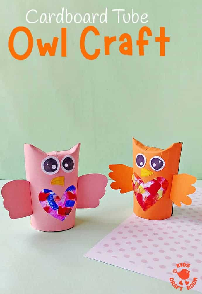 This Cardboard Tube Owl Craft is easy and adorably cute. With their heart shaped bellies these paper tube owls make great little gifts for friends and family too. Why not use them as an Owl Mother's Day gift or Owl Valentine? We love simple and recycled crafts!  #kidscraftroom #kidscrafts #owls #owlcrafts #cardboardtubecrafts #recycledcrafts #papertubes #TProllcrafts