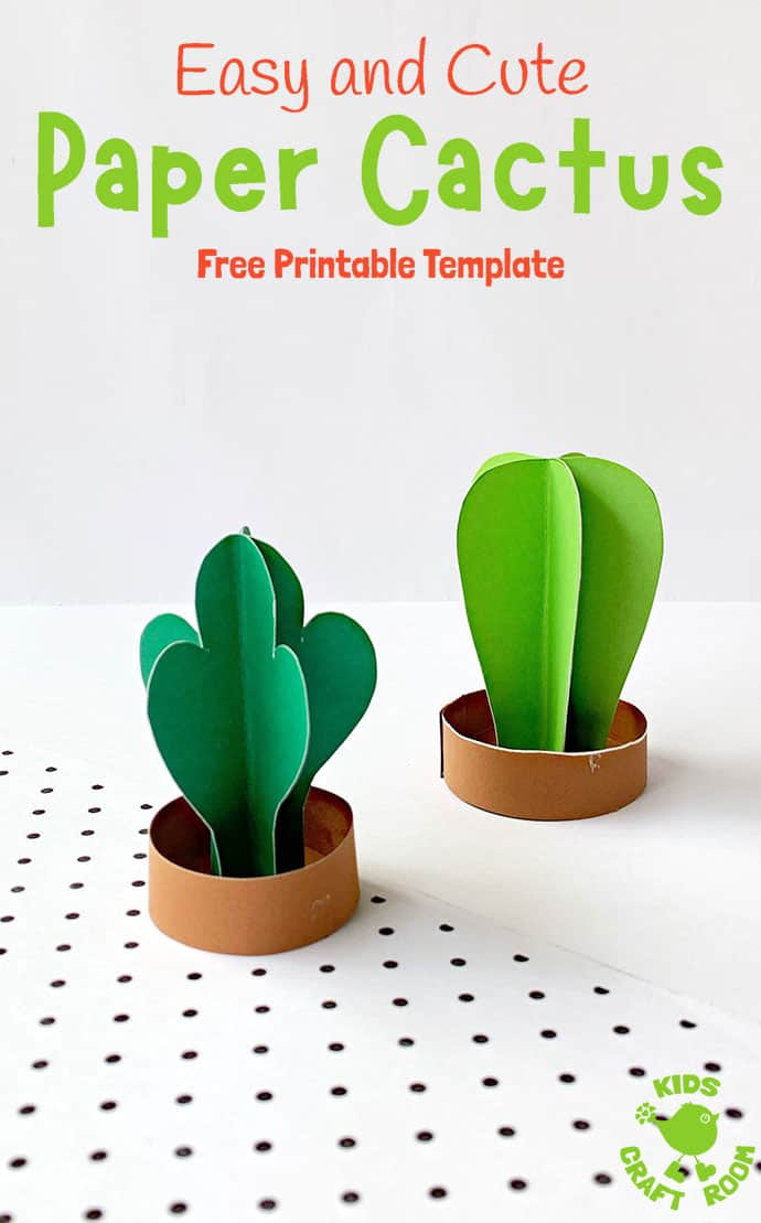 3D Paper Cactus Craft pin 3