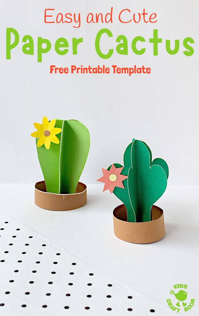 3D Paper Cactus Craft pin 1