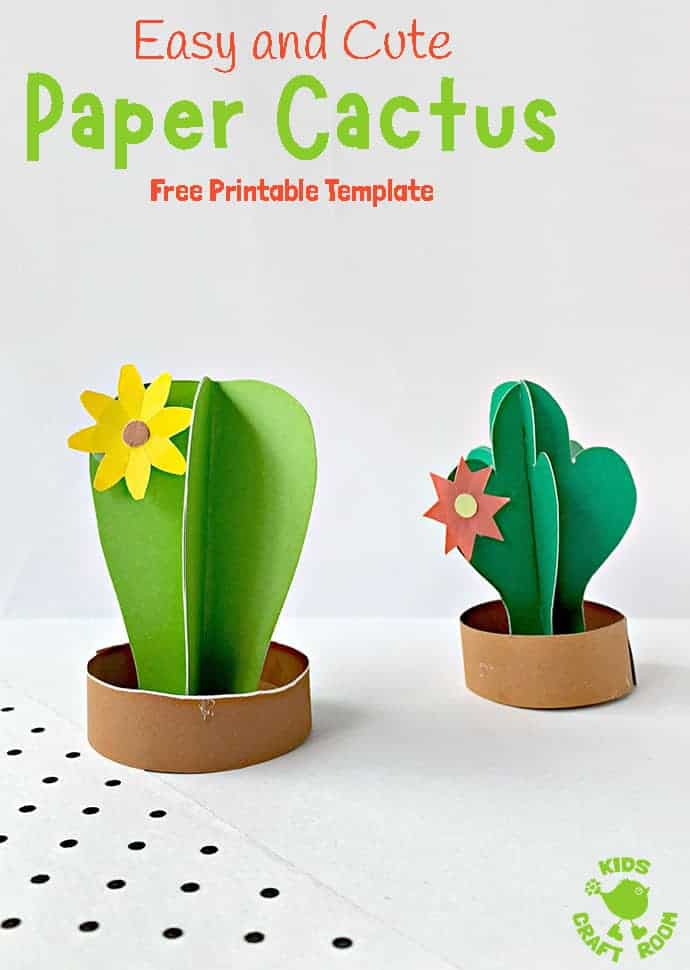Does this 3D Paper Cactus Craft prickle your fancy! Such a fun Summer craft to decorate your bookshelves and windowsills! Super fun as a desert craft or for a tropical party theme or study unit. (Free printable cactus templates.) #kidscraftroom #kidscrafts #papercrafts #printablecrafts #cactus #cacti #desertcrafts