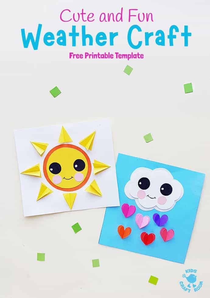 Make these cute paper weather crafts with the kids. They're adorable as a Spring craft, to go with weather topics or for fun all year round. (Free printable template) #kidscraftroom #kidscrafts #weathercrafts #springcrafts #papercrafts