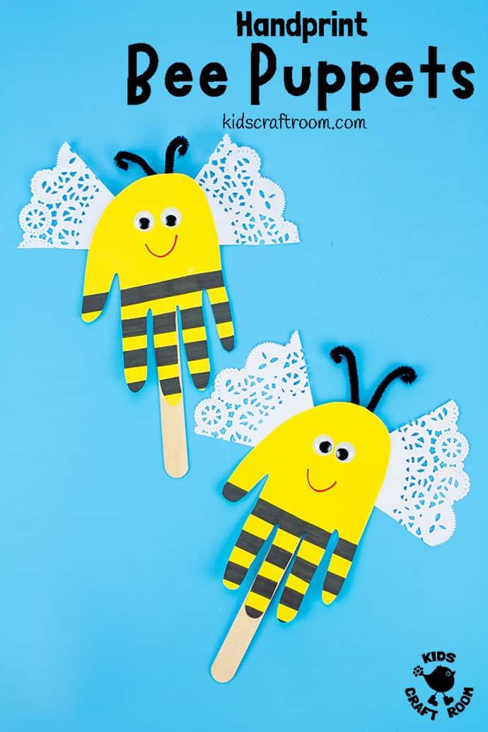 Handprint Bee Puppet Craft pin 3