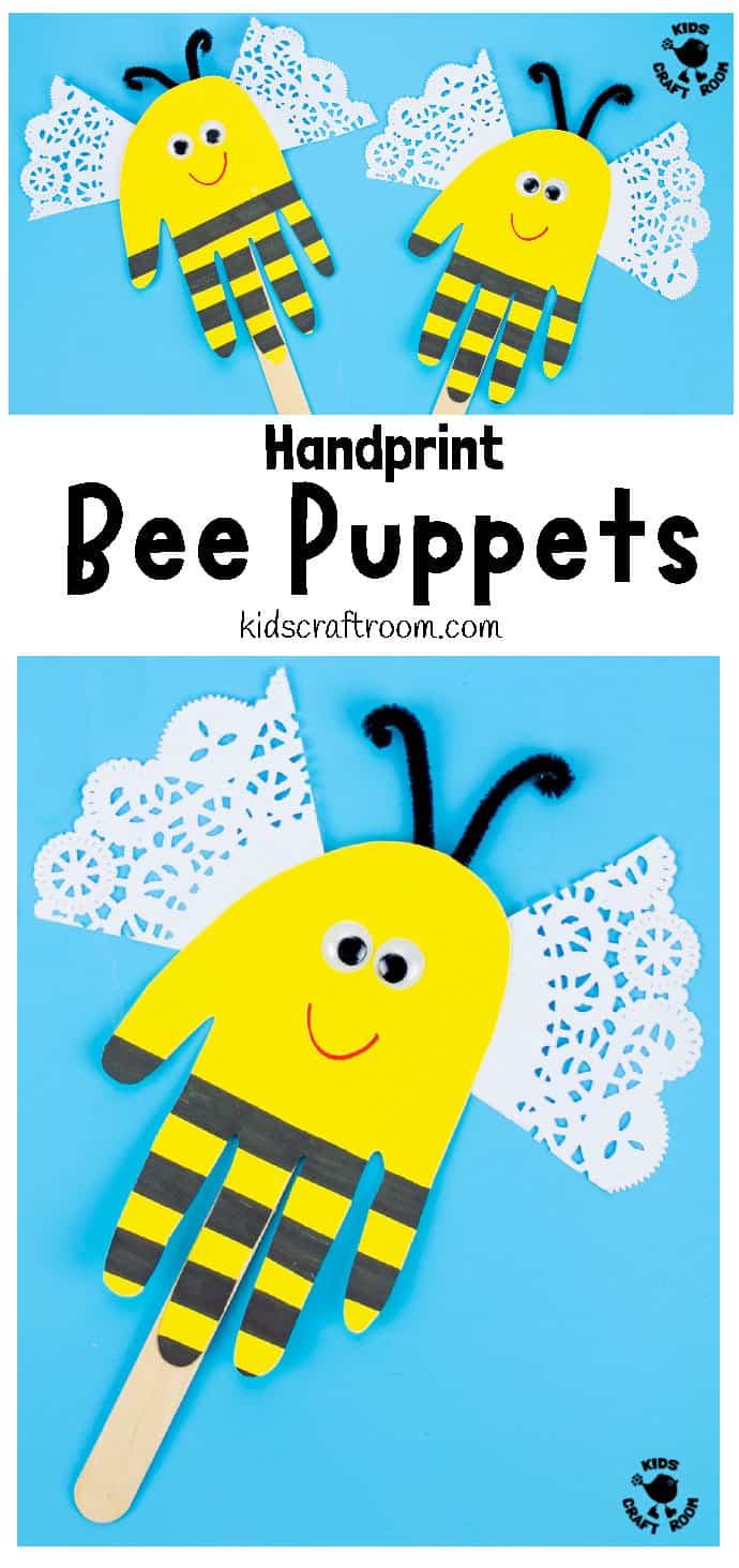 Handprint Bee Puppet Craft pin 1