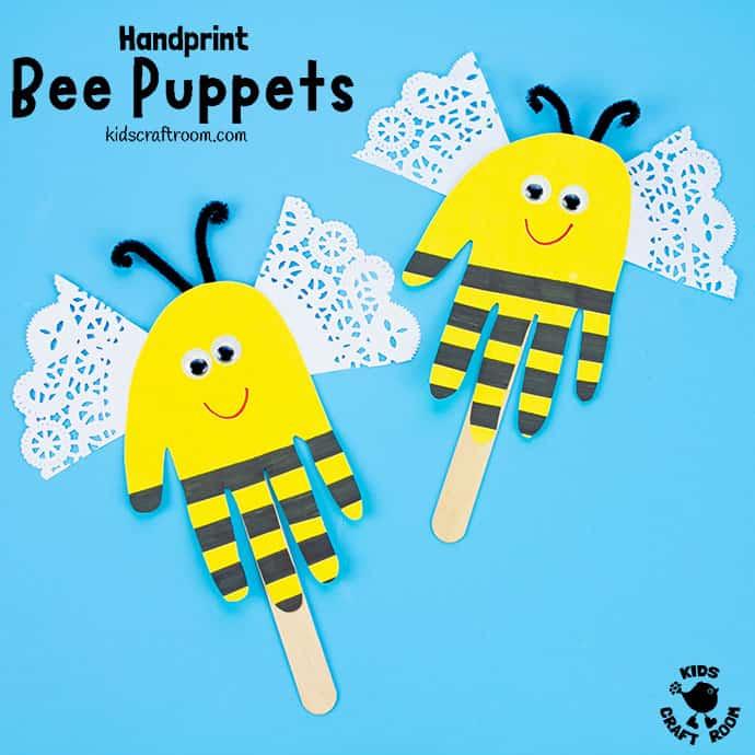 Handprint Bee Puppet Craft pin 2