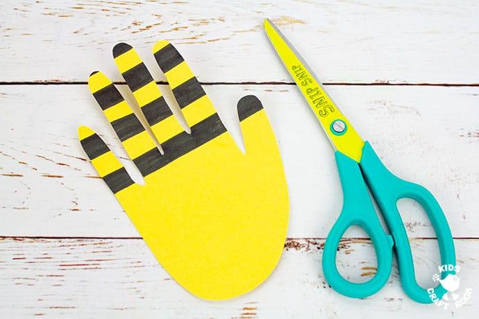 Handprint Bee Puppet Craft step 3