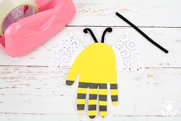 Handprint Bee Puppet Craft step 5