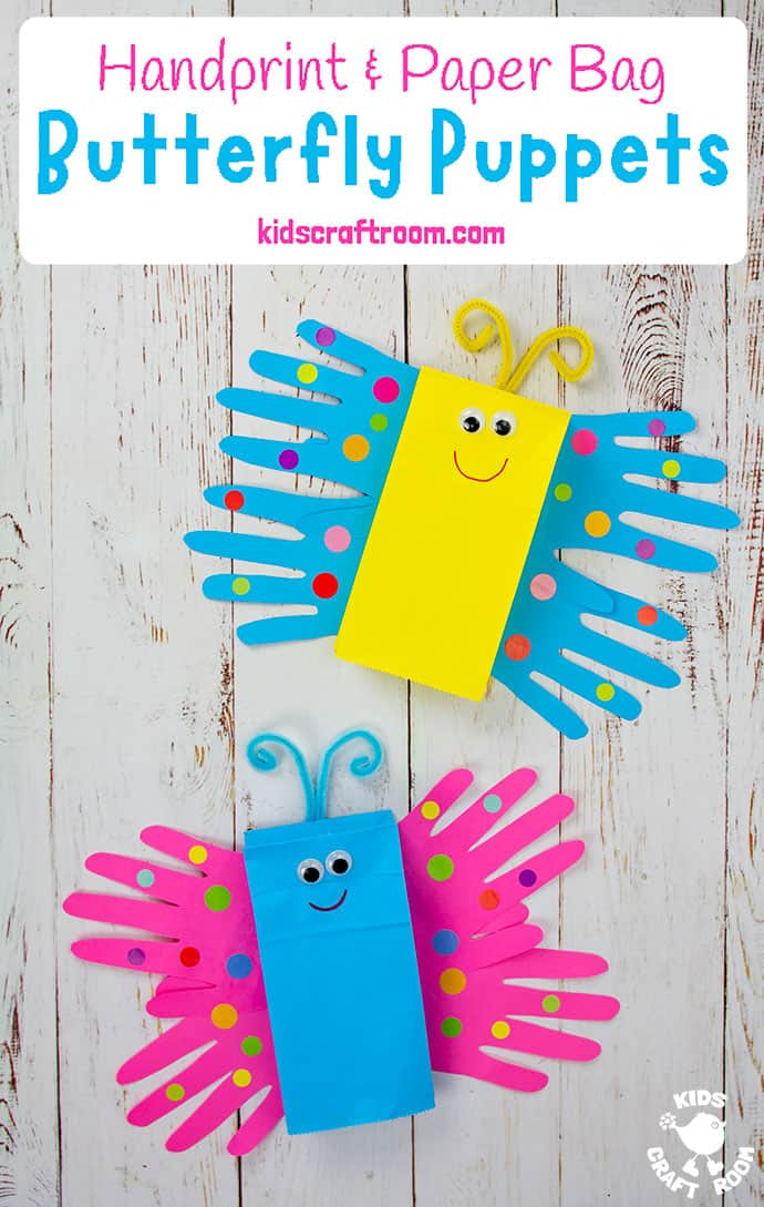 Paper Bag Butterfly Puppet Craft Pin 3