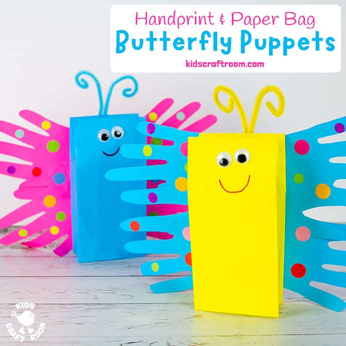 Paper Bag Butterfly Puppet Craft Pin 2