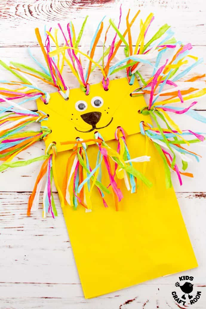 Paper Bag Lion Puppet Craft Pin 3