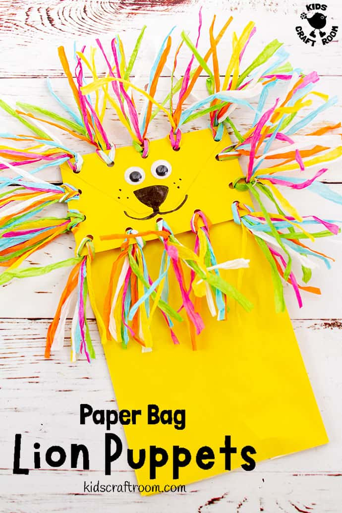 Paper Bag Lion Puppet Craft Pin 2