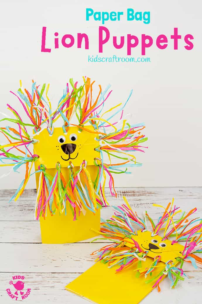 Paper Bag Lion Puppet Craft Pin 4