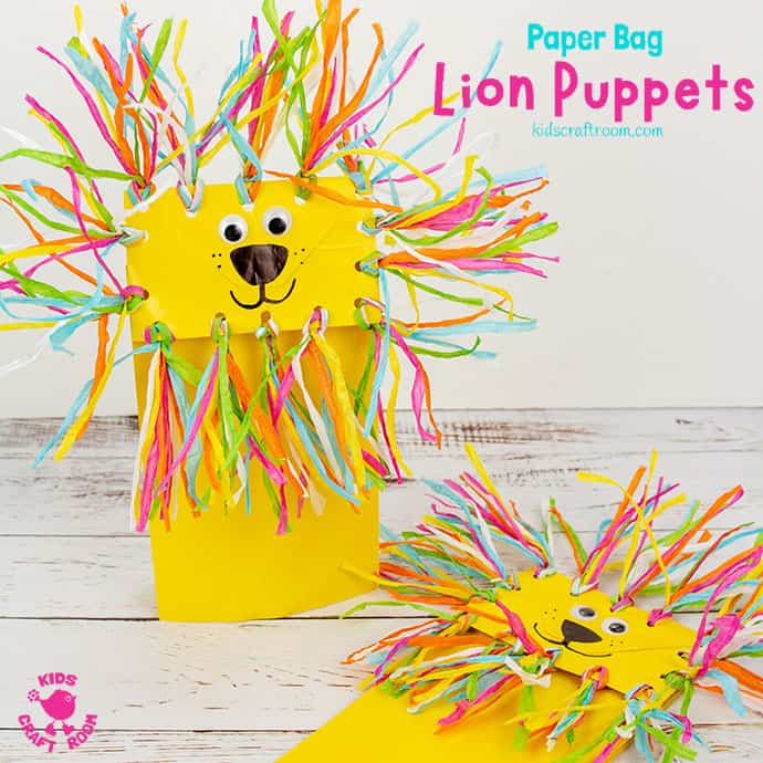 Paper Bag Lion Puppet Craft Pin 1