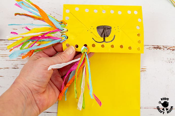 Paper Bag Lion Puppet Craft step 5