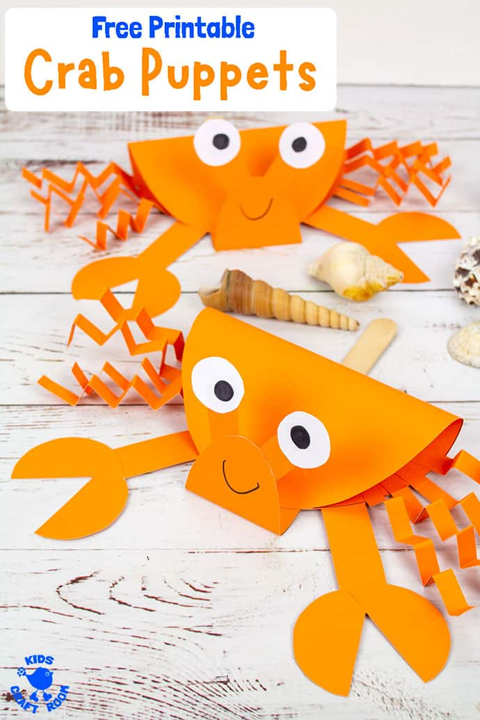 Crab Puppet Craft image for Pinterest 3